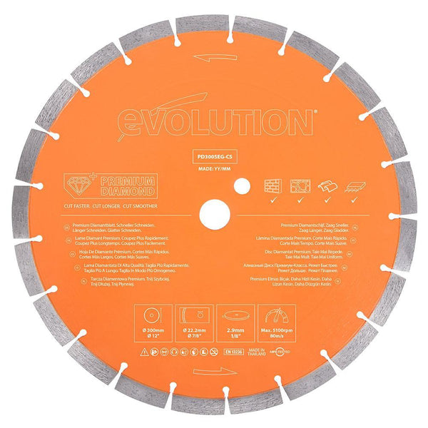 Evolution 300mm Premium Diamond Disc Cutter Blade With High Diamond Concentration, Segmented Edge and 22.2mm Bore - Evolution Power Tools UK