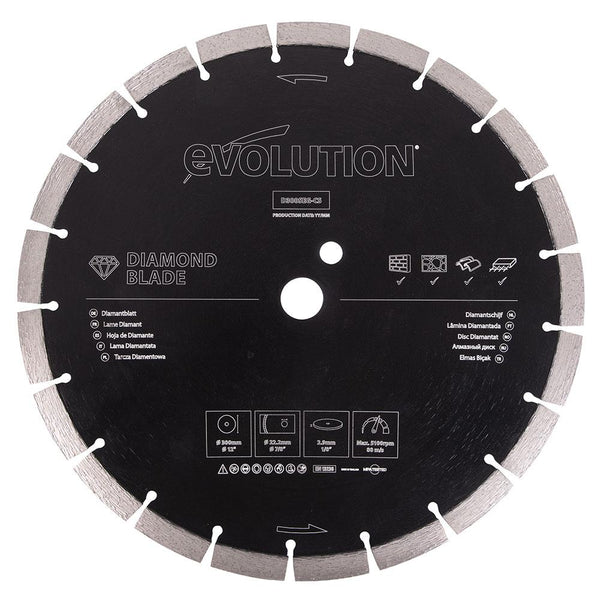 Evolution 300mm Segmented Edge, 22.2mm Bore, Concrete, Stone, Brick Cutting Diamond Blade - Evolution Power Tools UK