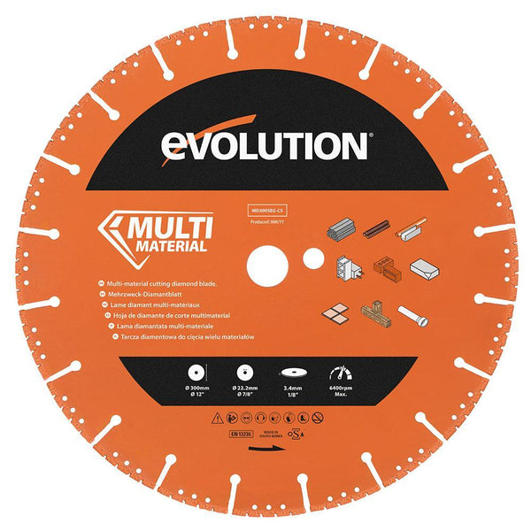 Evolution 300mm Segmented Edge, 22.2mm Bore, Multi-Purpose, Metal Cutting Diamond blade - Evolution Power Tools UK
