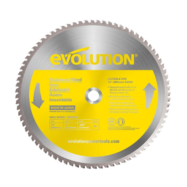 Evolution 355mm Stainless Steel Cutting 90T Blade - Evolution Power Tools UK