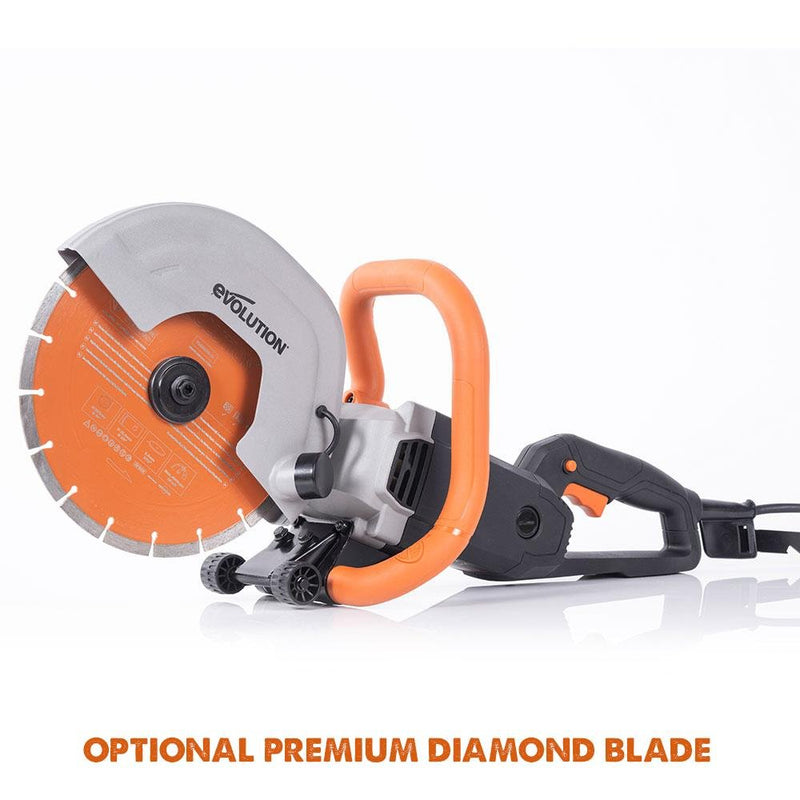 "Evolution R230DCT 230mm 9"" Electric Disc Cutter Concrete Saw with Diamond Blade - Evolution Power Tools UK"