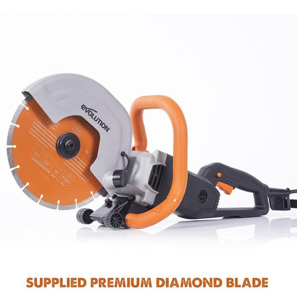"Evolution R255DCT 255mm 10"" Electric Disc Cutter Concrete Saw with Premium Diamond Blade - Evolution Power Tools UK"
