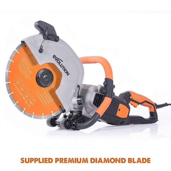 "Evolution R300DCT+ 300mm 12"" Electric Disc Cutter Concrete Saw with Water Fed Dust Suppression and Premium Diamond Blade - Evolution Power Tools UK"