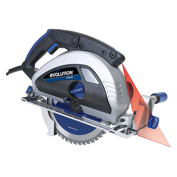EVOSAW230 - 230mm Circular Saw with TCT Mild Steel Cutting Blade - Evolution Power Tools