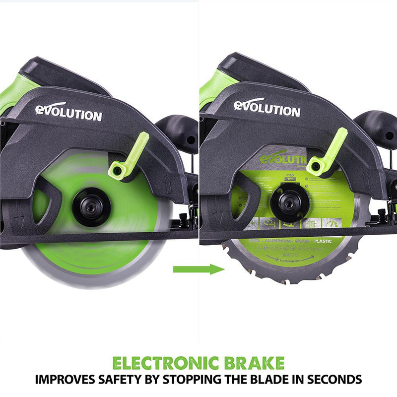 F165CCSL - 165mm Circular Saw with TCT Multi-Material Cutting Blade (230v) - Evolution Power Tools