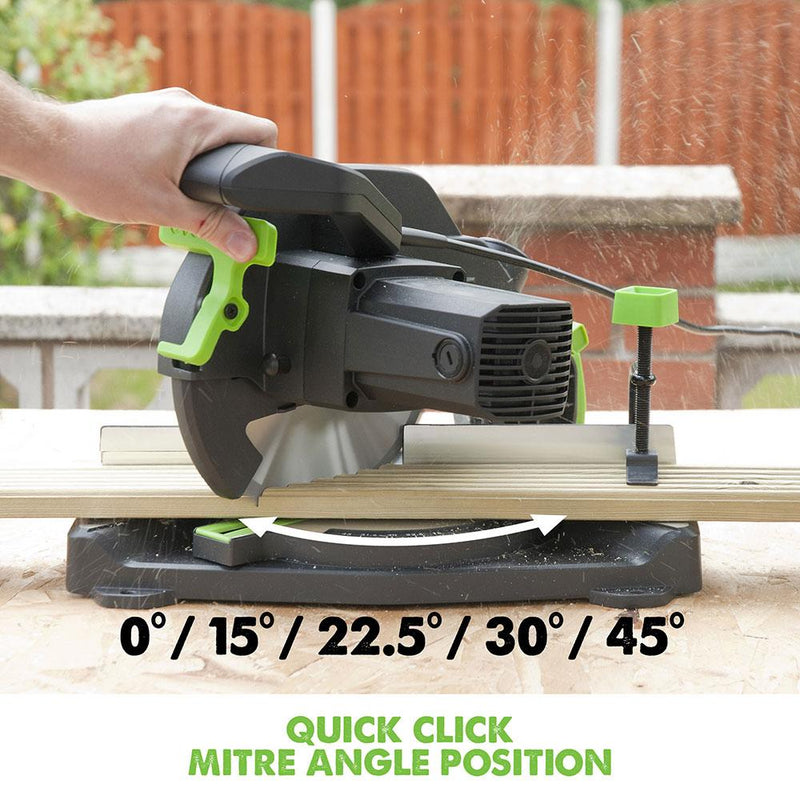 F210CMS - 210mm Compound Mitre Saw With TCT Multi-Material Cutting Blade (230v) - Evolution Power Tools