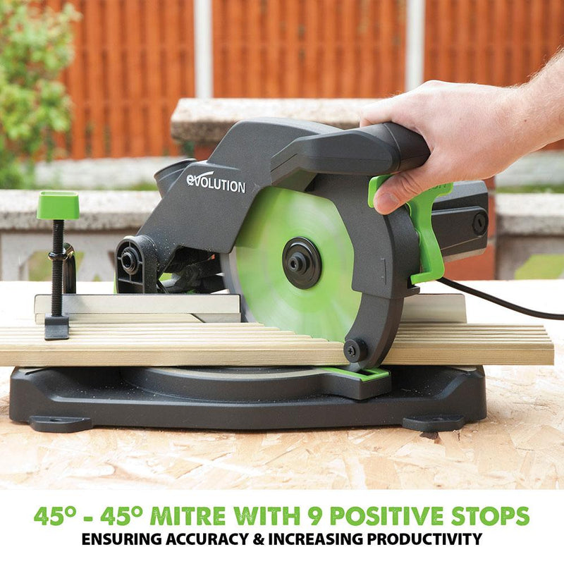 Evolution F210CMS 210mm Compound Mitre Saw With TCT Multi-Material Cutting Blade (230v) - Evolution Power Tools UK