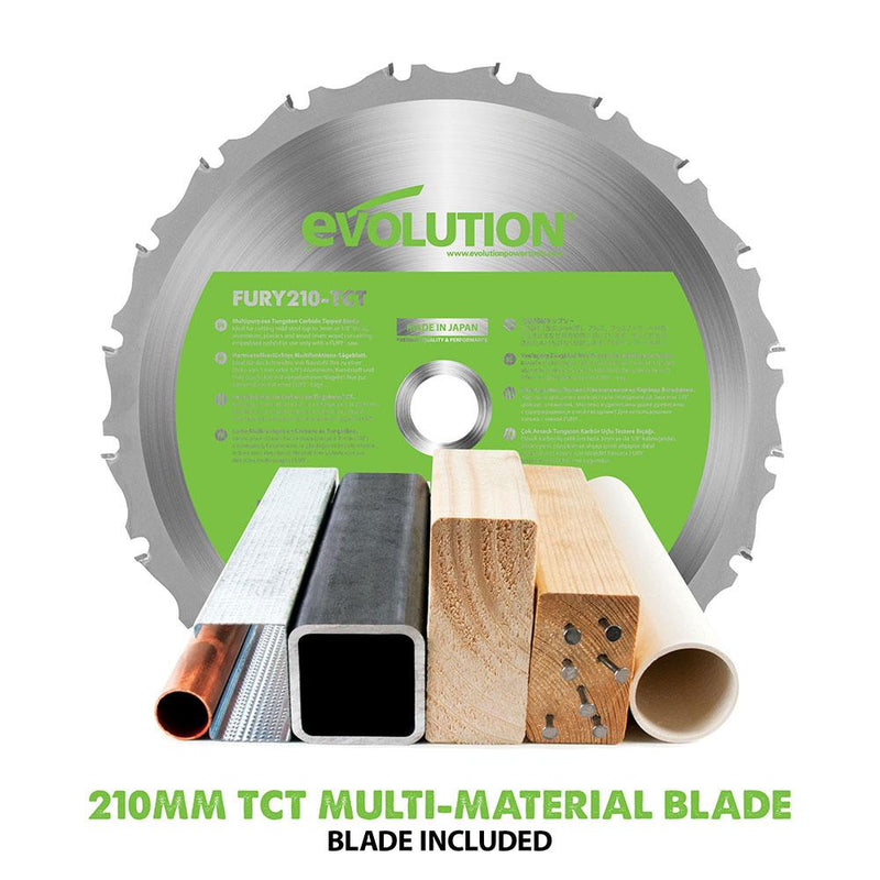 Evolution F210SMS 210mm Sliding Mitre Saw With TCT Multi-Material Cutting Blade (230v) - Evolution Power Tools