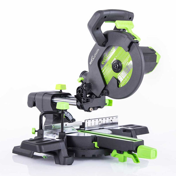 F210SMS - 210mm Sliding Mitre Saw With TCT Multi-Material Cutting Blade (230v) - Evolution Power Tools
