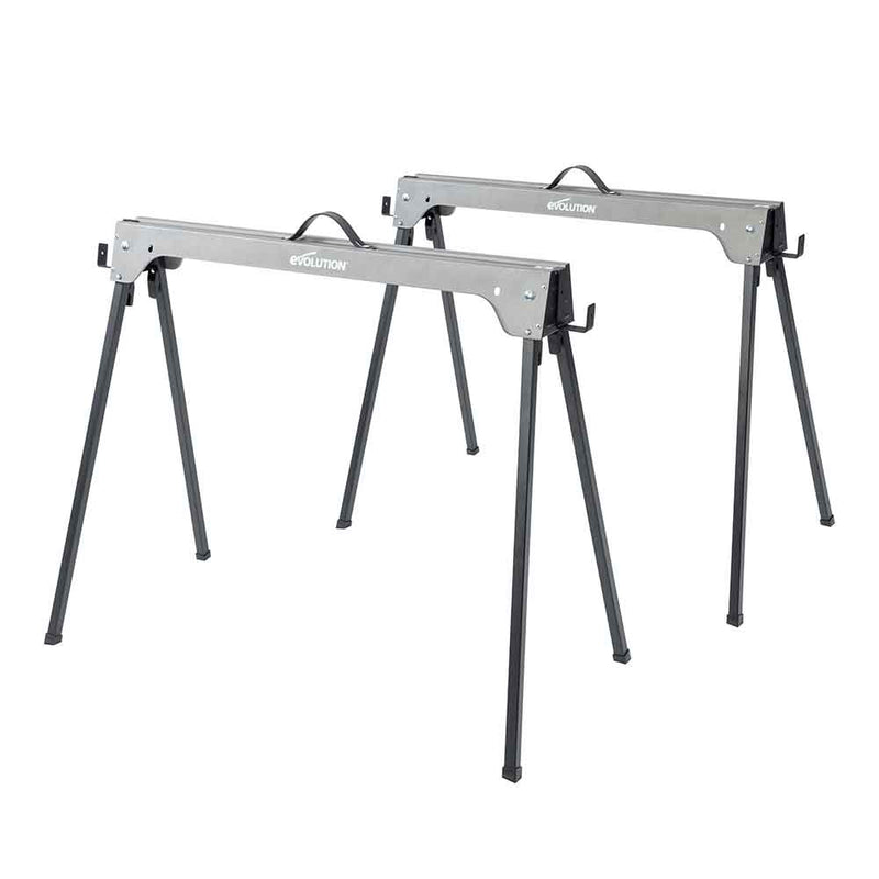 Metal Saw Horse With Folding Legs (Twin-Pack) - Evolution Power Tools