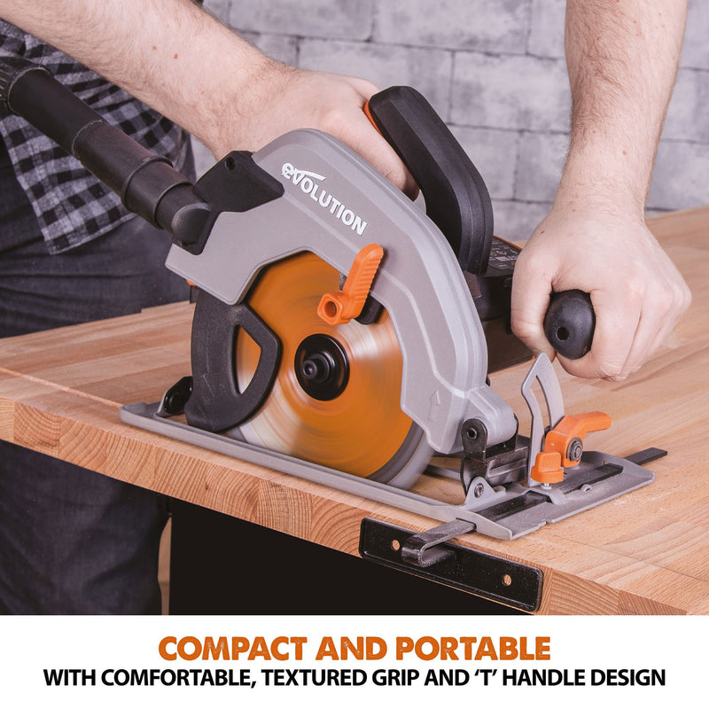 Evolution R165CCSL 165mm Circular Saw with TCT Multi-Material Cutting Blade - Evolution Power Tools