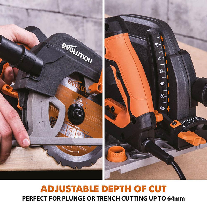 R185CCSX+ - 185mm Circular Saw with TCT Multi-Material Cutting Blade - Evolution Power Tools