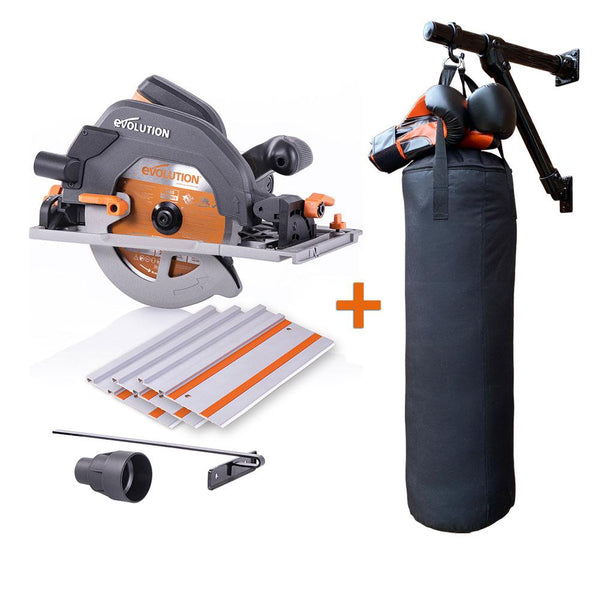 R185CCSX Circular Saw + Self-Made, Multi-Purpose Wall Mount (Materials & Fixings), Silver Spray Paint, Boxing Bag (Unfilled) & Boxing Gloves - Evolution Power Tools
