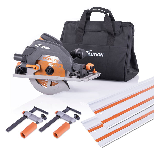 Evolution R185CCSX+ Circular Saw  and 2.8m Track Bundle with TCT Multi-Material Cutting Blade - Evolution Power Tools