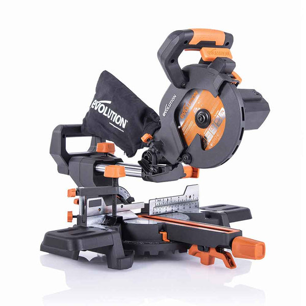 Evolution R185SMS+ 185mm Sliding Mitre Saw With TCT Multi-Material Cutting Blade (230V) - Evolution Power Tools