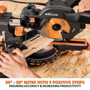 Evolution R185SMS+ 185mm Sliding Mitre Saw With TCT Multi-Material Cutting Blade (230V) - Evolution Power Tools UK