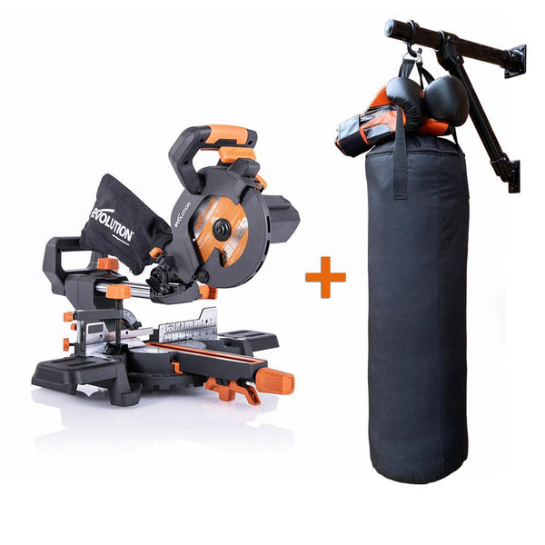 R185SMS+ Sliding Mitre Saw + Self-Made, Multi-Purpose Wall Mount (Materials & Fixings), Silver Spray Paint, Boxing Bag (Unfilled) & Boxing Gloves - Evolution Power Tools