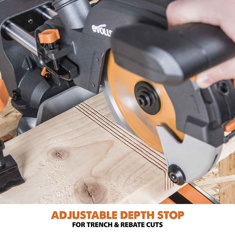 R185SMS - 185mm Sliding Mitre Saw With TCT Multi-Material Cutting Blade - Evolution Power Tools