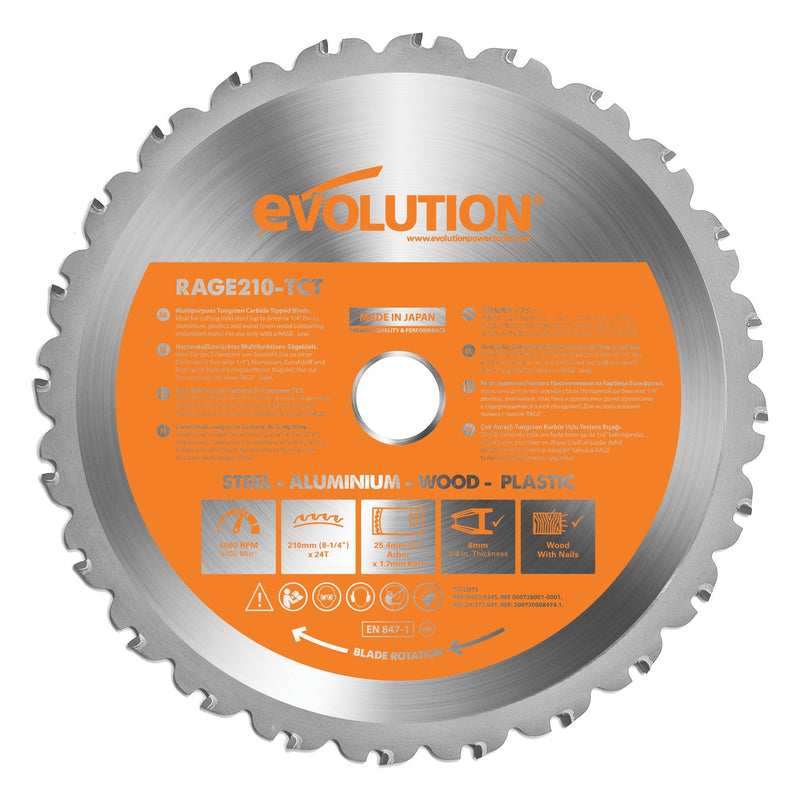 Evolution R210CMS - 210mm Compound Mitre Saw With TCT Multi-Material Cutting Blade - Evolution Power Tools UK