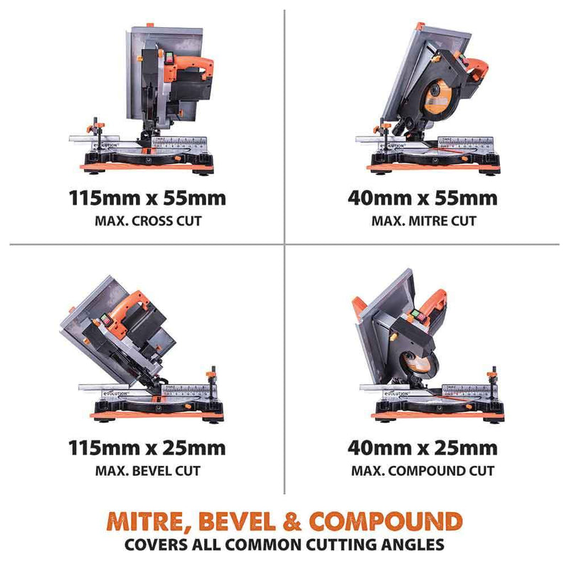 R210MTS: 210mm Mitre / Table Saw - Evolution Power Tools