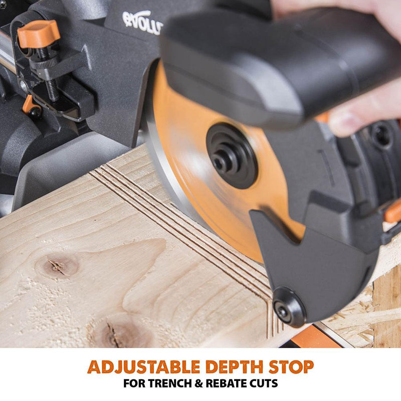 Evolution R210SMS+ 210mm Sliding Mitre Saw With TCT Multi-Material Cutting Blade - Evolution Power Tools