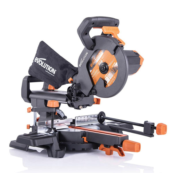 Evolution R210SMS+ 210mm Sliding Mitre Saw With TCT Multi-Material Cutting Blade - Evolution Power Tools UK