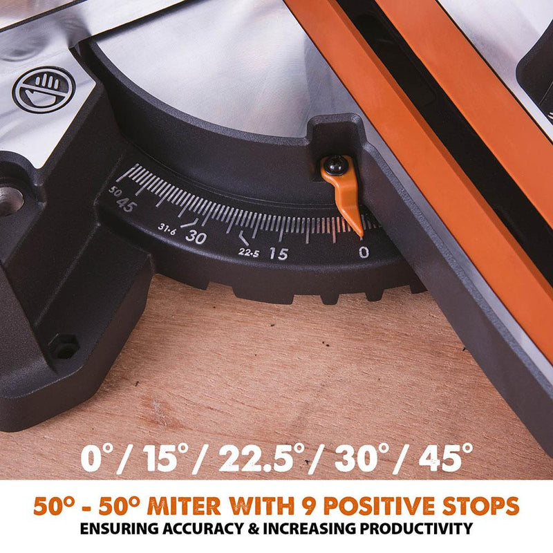 R210SMS+ - 210mm Sliding Mitre Saw With TCT Multi-Material Cutting Blade - Evolution Power Tools
