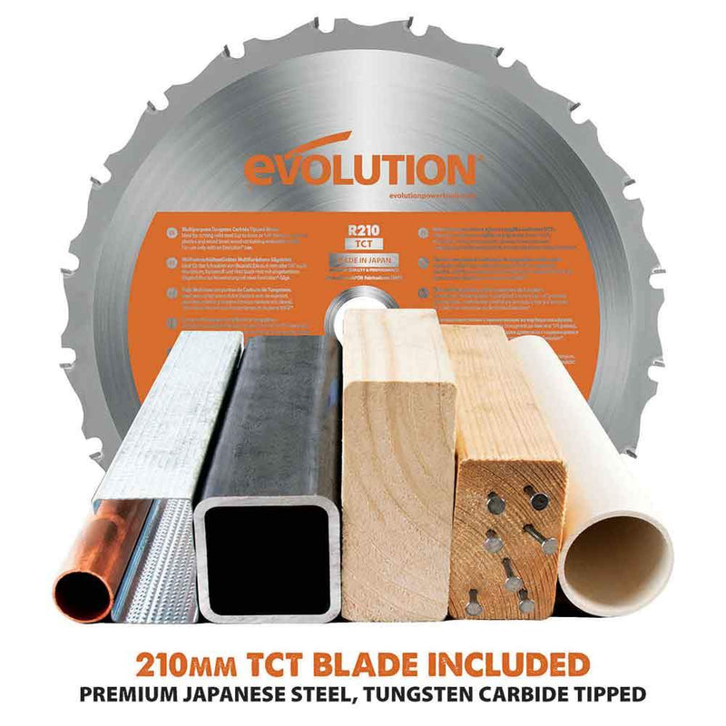 R210SMS - 210mm Sliding Mitre Saw With TCT Multi-Material Cutting Blade - Evolution Power Tools