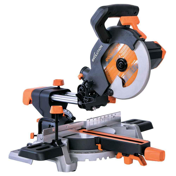 Evolution R210SMS 210mm Sliding Mitre Saw With TCT Multi-Material Cutting Blade - Evolution Power Tools