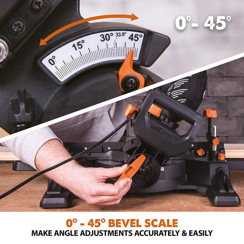 R210SMS-300+ Sliding Mitre Saw With TCT Multi-Material Cutting Blade - Evolution Power Tools
