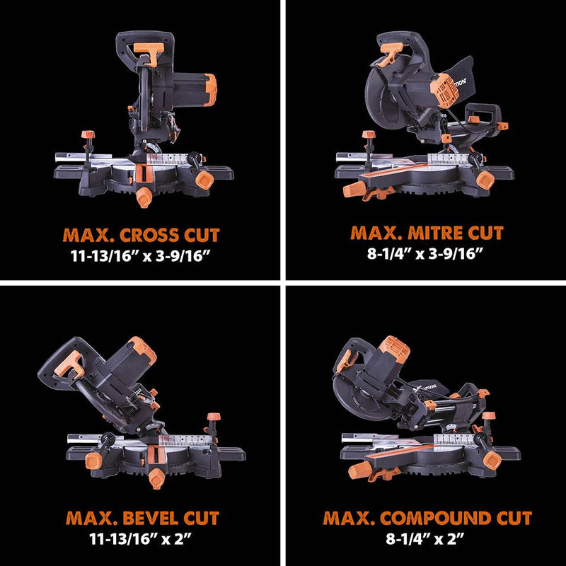 Evolution R210SMS-300+ Sliding Mitre Saw With TCT Multi-Material Cutting Blade - Evolution Power Tools