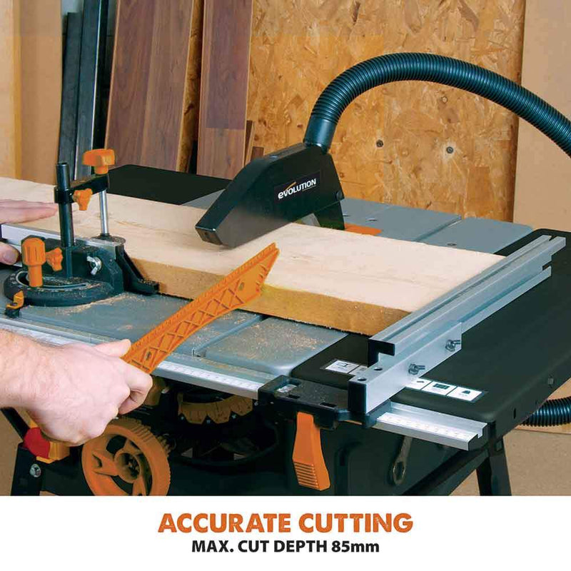 R255MTS - 255mm Table Saw With TCT Multi-Material Cutting Blade (230v) - Evolution Power Tools