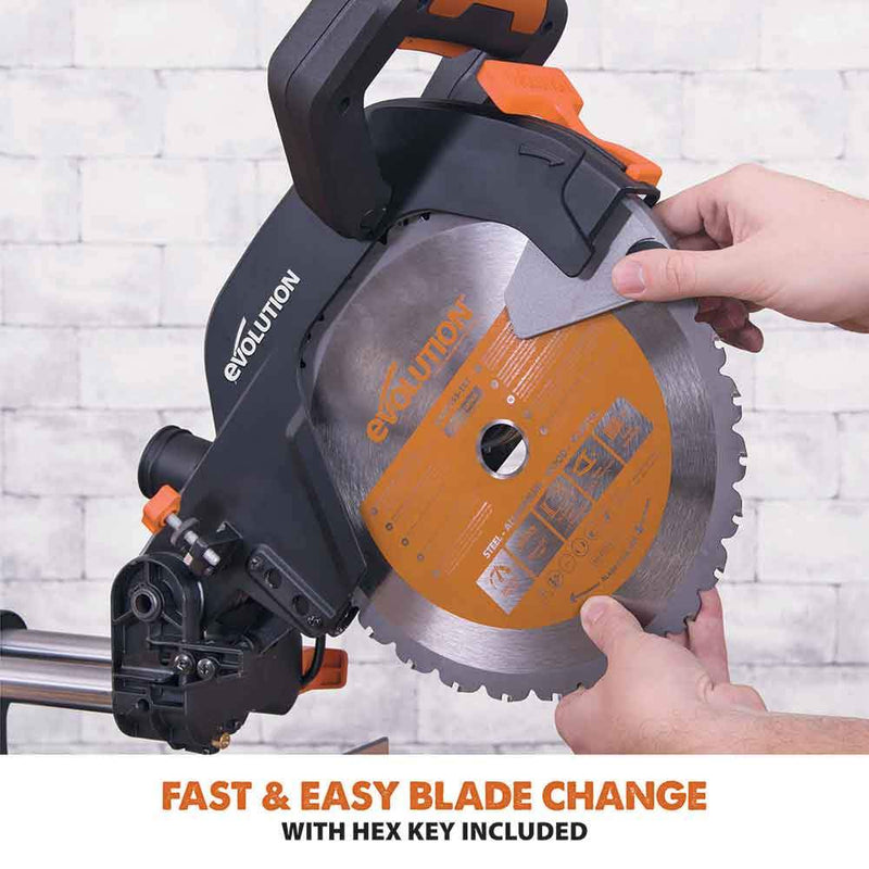 R255SMS - 255mm Sliding Mitre Saw With TCT Multi-Material Cutting Blade - Evolution Power Tools