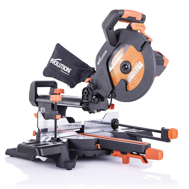 R255SMS+ - 255mm Sliding Mitre Saw With TCT Multi-Material Cutting Blade - Evolution Power Tools