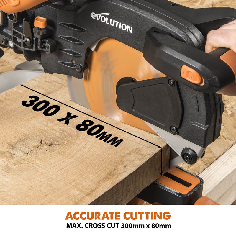 Evolution R255SMS+ - 255mm Sliding Mitre Saw With TCT Multi-Material Cutting Blade - Evolution Power Tools UK