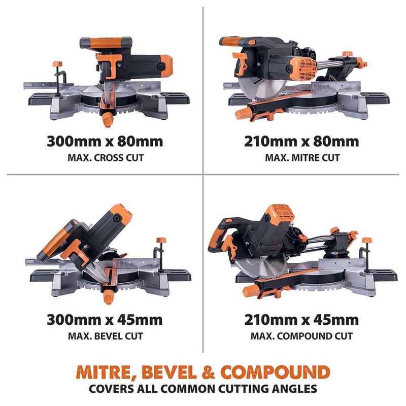 R255SMS - 255mm Sliding Mitre Saw - Evolution Power Tools