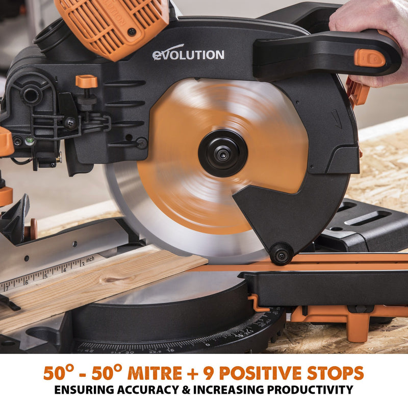 R255SMS-DB+ - 255mm Double Bevel Sliding Mitre Saw With TCT Multi-Material Cutting Blade - Evolution Power Tools