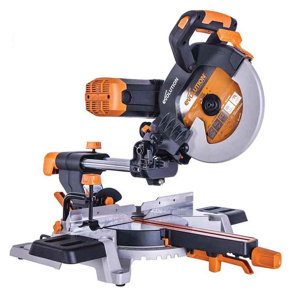 R255SMS-DB - 255mm Double Bevel Sliding Mitre Saw With TCT Multi-Material Cutting Blade - Evolution Power Tools