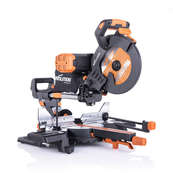 R255SMS-DB+ - 255mm Double Bevel Sliding Mitre Saw With TCT Multi-Material Cutting Blade & Extra 255mm Wood Blade - Evolution Power Tools