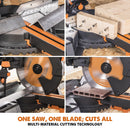 Evolution R255SMS-DB+ 255mm Double Bevel Sliding Mitre Saw With TCT Multi-Material Cutting Blade - Evolution Power Tools