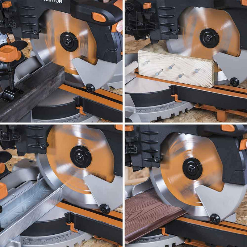 Evolution R255SMS-DB 255mm Double Bevel Sliding Mitre Saw With TCT Multi-Material Cutting Blade - Evolution Power Tools