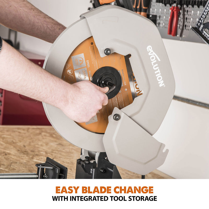 Evolution R355CPS 355mm Chop Saw with TCT Multi-material Cutting Blade - Evolution Power Tools UK