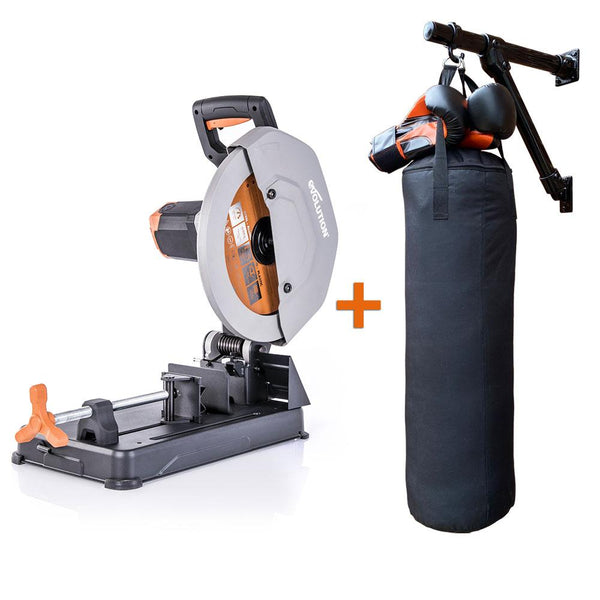 R355CPS Chop Saw + Self-Made, Multi-Purpose Wall Mount (Materials & Fixings), Silver Spray Paint, Boxing Bag (Unfilled) & Boxing Gloves - Evolution Power Tools