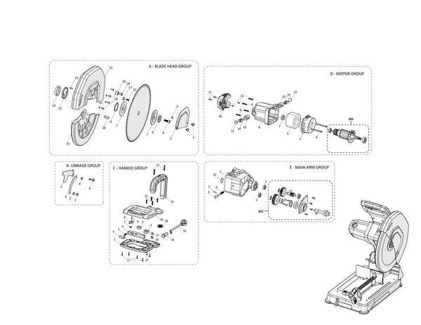 Evolution R355CPS: Spares (Head Section) - Evolution Power Tools UK