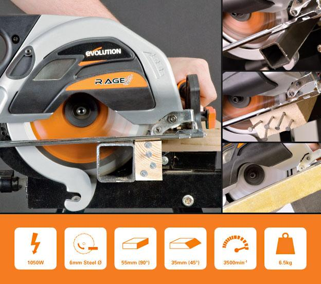 Evolution RAGE1 (110V): 185mm Circular Saw with TCT Multi-Material Cutting Blade (Discontinued) - Evolution Power Tools UK