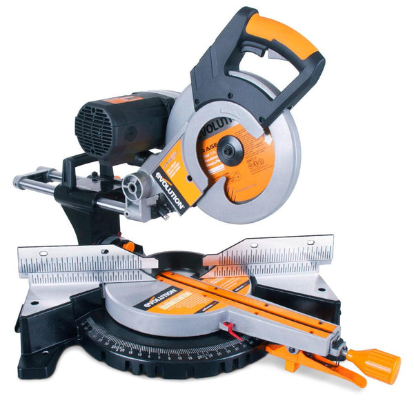 RAGE3-DB - 255mm Double Bevel Sliding Mitre Saw With TCT Multi-Material Cutting Blade (110V) (Discontinued) - Evolution Power Tools