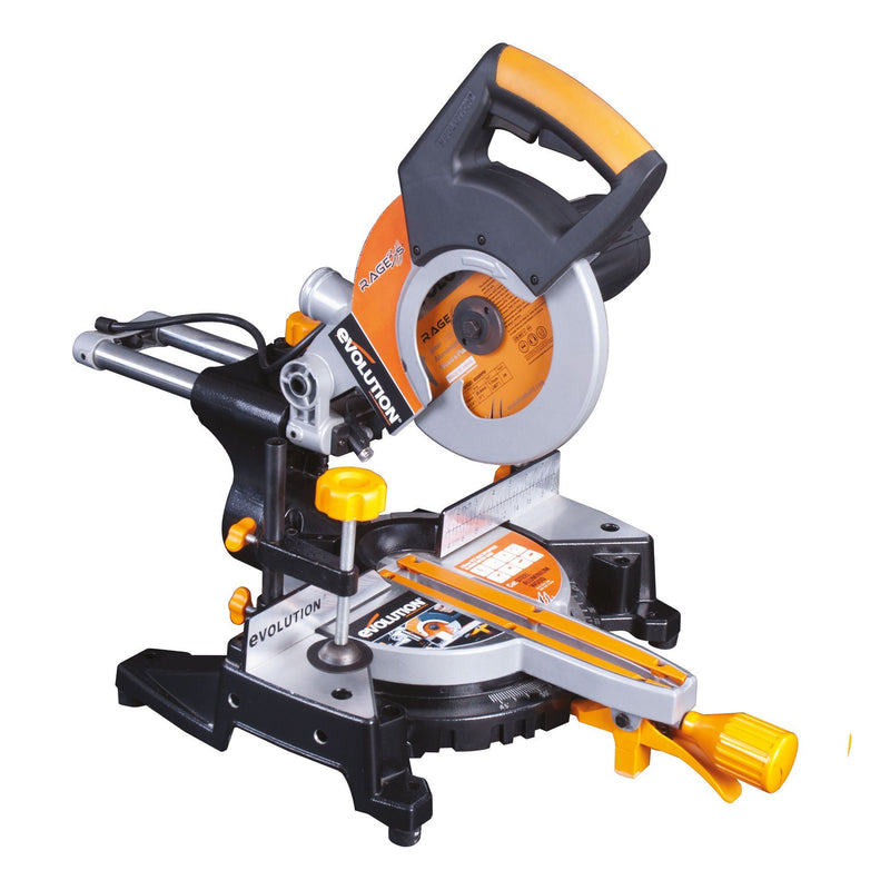 Evolution RAGE3-S (110V): 210mm sliding mitre saw with 60 x 210mm cross cut (Discontinued) - Evolution Power Tools UK