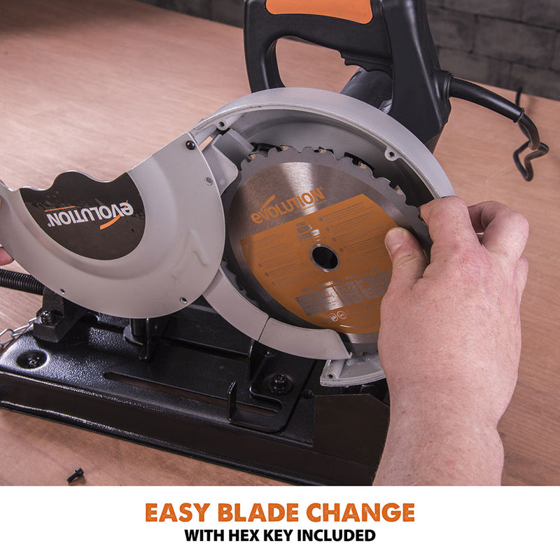 Evolution RAGE4 - 185mm Chop Saw with TCT Multi-material Cutting Blade - Evolution Power Tools