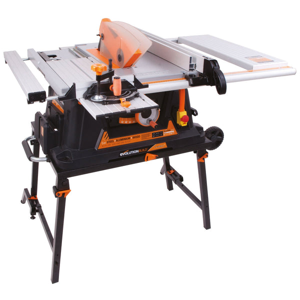 RAGE5: 255mm Table Saw With TCT Multi-Material Cutting Blade (Discontinued) - Evolution Power Tools