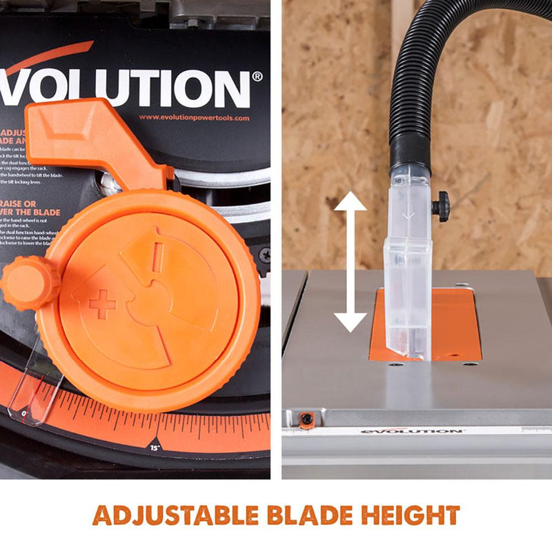 Evolution RAGE5-S 255mm Table Saw With TCT Multi-Material Cutting Blade - Evolution Power Tools UK